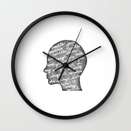 Positive words in my head Wall Clock