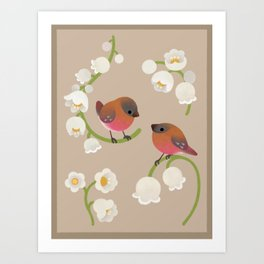 Brown-capped rosy finch Art Print