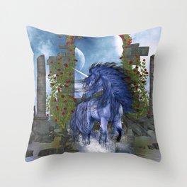 Blue Unicorn 2 Throw Pillow
