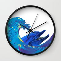 hokusai Wall Clocks featuring Hokusai Rainbow & Dolphin by FACTORIE