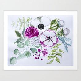 Pink peony, eucalyptus leaves, Watercolor Wall Art, Flowers illustration, orchid, hydrangea Art Print