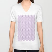 herringbone V-neck T-shirts featuring Herringbone Orchid by Project M
