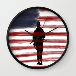 Soldier and Flag - Patriotic Wall Clock