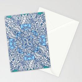 Nature Tangle - vintage botanical pattern in blue, teal & aqua Stationery Cards