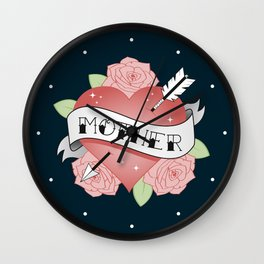 Mother Tattoo - Navy Wall Clock