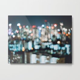 Blurry City Lights Metal Print