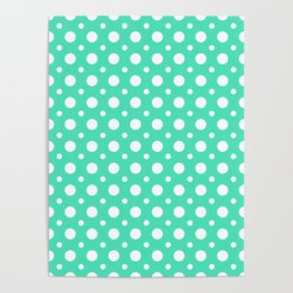 Menthol green and white polka dots pattern Poster