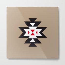 Navajo Aztec Pattern Black White Red on Light Brown Metal Print