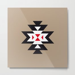 Navajo Aztec Pattern Black White Red on Light Brown Metal Print