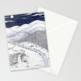 Snowy Night in Japan Stationery Cards