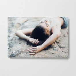 girl on rock. Metal Print