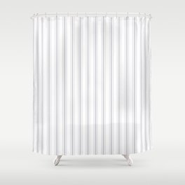 Soft Grey Mattress Ticking Wide Striped Pattern - Fall Fashion 2018 Shower Curtain