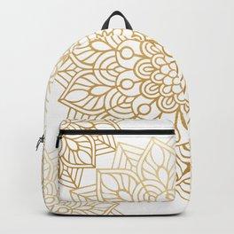 Beautiful White & Gold Mandala Pattern Backpack