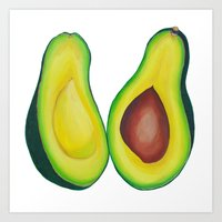 avocado Art Prints featuring Avocado by marlene holdsworth