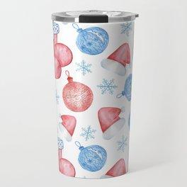Watercolor Christmas pattern of Christmas balls, red caps and snowflakes Travel Mug