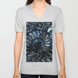 Blue Ammonite Unisex V-Neck