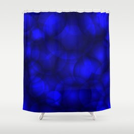 Glowing blue soap circles and volume sea bubbles of air and water. Shower Curtain
