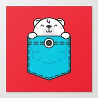 pocket Canvas Prints featuring Pocket Polar by Steven Toang