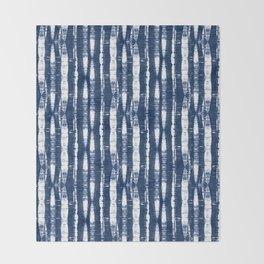 Shibori Stripes Indigo Blue Throw Blanket