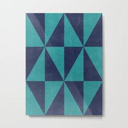 Geometric Triangle Pattern - Turquoise, Blue Metal Print
