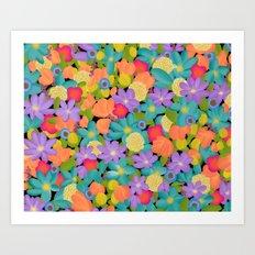 Wild Flowers Design Colorful Feminine Artsy Beautiful Black Background Art Print