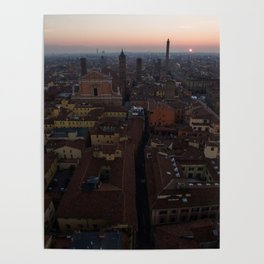 Bologna sunrise city aerial drone italy Poster