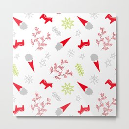 Scandi Christmas Gnomes Metal Print