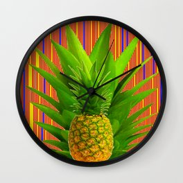 CONTEMPORARY ART PINEAPPLE IN RED-BLUE Wall Clock