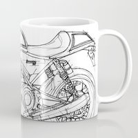 cafe racer Mugs featuring NORTON COMMANDO 961 CAFE RACER 2011 by Larsson Stevensem