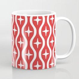 Mid century Modern Bulbous Star Pattern Red Coffee Mug