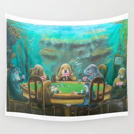 Pinnipeds Playing Poker Wall Tapestry