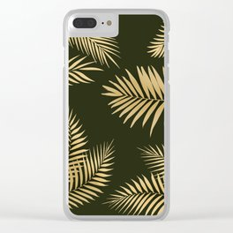 Golden and Green Palm Leaves Clear iPhone Case