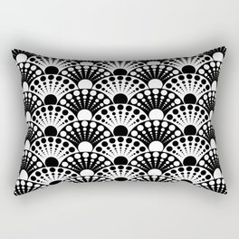 black and white art deco inspired fan pattern Rectangular Pillow