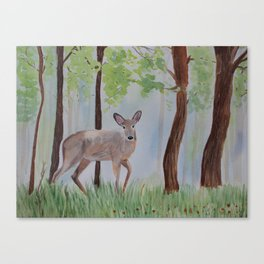 Deer in the Forest Watercolor Painting Canvas Print
