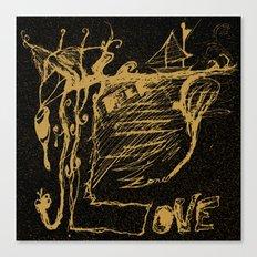 Black Yellow World - Abstract Love - Valentine Canvas Print