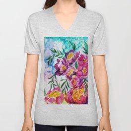 Tree peonies watercolor Unisex V-Neck