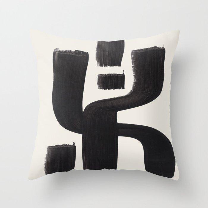 Mid Century Modern Minimalist Abstract Art Brush Strokes Black & White Ink Art Alien Symbol Pattern Throw Pillow