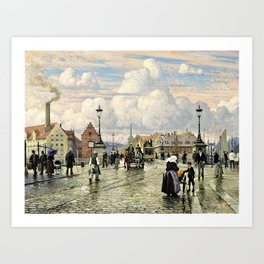 Paul Gustav Fischer - A Scene From Knippelsbro, Bridge In Copenhagen, When The Artist Was A Boy Art Print