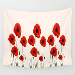 GRAPHIC RED POPPY FLOWERS GARDEN ON WHITE COLOR Wall Tapestry