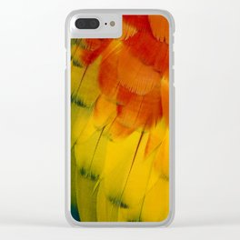 Texture: Colorful Parrot Feathers Clear iPhone Case