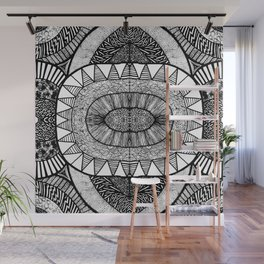 Jet Black Tangled Mania Pattern Doodle Design Wall Mural