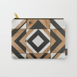 Modern Wood Art, Black and White Chevron Pattern Carry-All Pouch