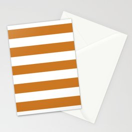 Ochre - solid color - white stripes pattern Stationery Cards