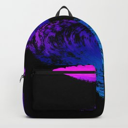 Fuchsia to Sky Blue Brush Drip Abstract Painting on Black Backpack