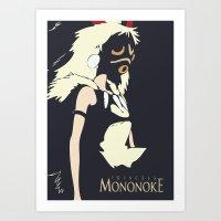 princess mononoke Art Prints featuring Princess Mononoke by Studio Momo╰༼ ಠ益ಠ ༽