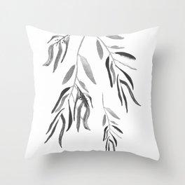 Eucalyptus Branches II Black And White Throw Pillow