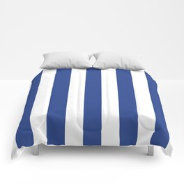 Dark cornflower blue - solid color - white vertical lines pattern Comforters
