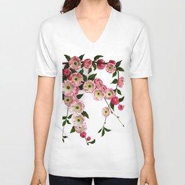 Flowering Almond Pink Floral Unisex V-Neck