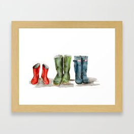 Wellies in a row Framed Art Print