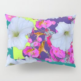 White Garden Petunia & Morning Glories Flowers Turquoise Art Pillow Sham